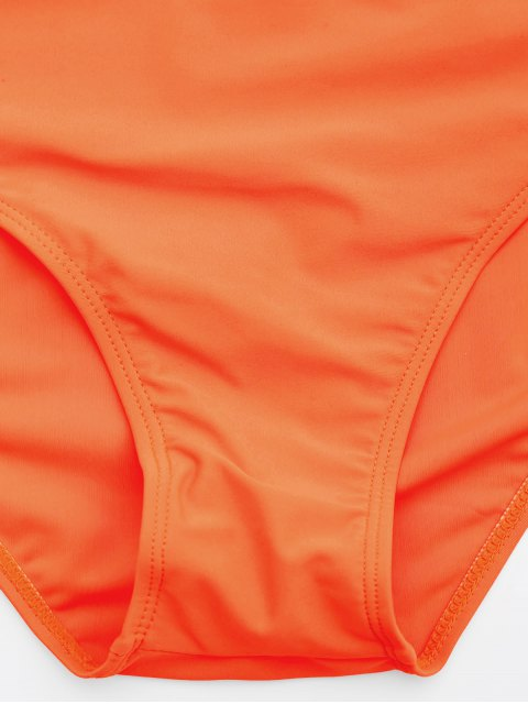 latest Lace Plus Size Tankini Bathing Suit - NEON ORANGE 5XL Mobile