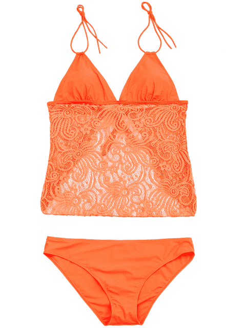 Combinaison de bain en dentelle Plus Size Tankini - Néon Orange 3XL Mobile