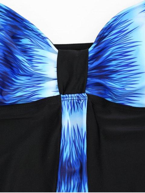 unique Padded Bandeau Tankini Bathing Suit - BLUE 5XL Mobile
