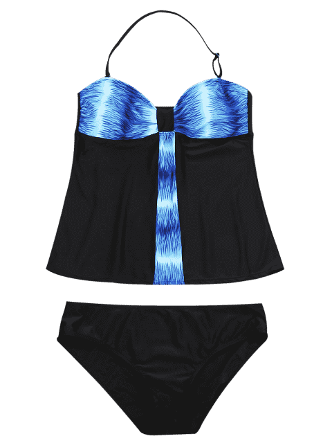 womens Padded Bandeau Tankini Bathing Suit - BLUE XL Mobile