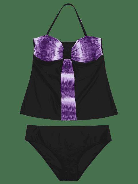 women Padded Bandeau Tankini Bathing Suit - PURPLE 5XL Mobile