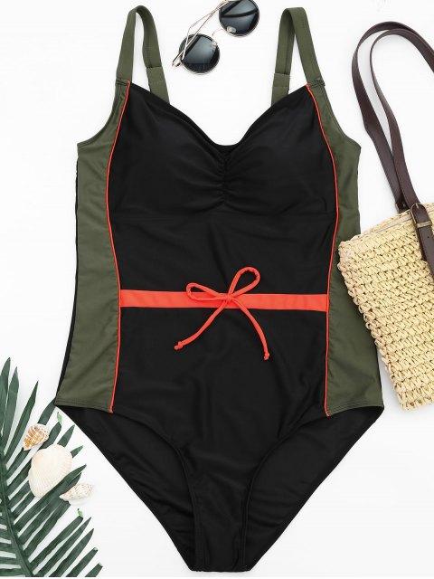 ladies Plus Size Colorblock Shaping Swimsuit - COLORMIX 2XL Mobile