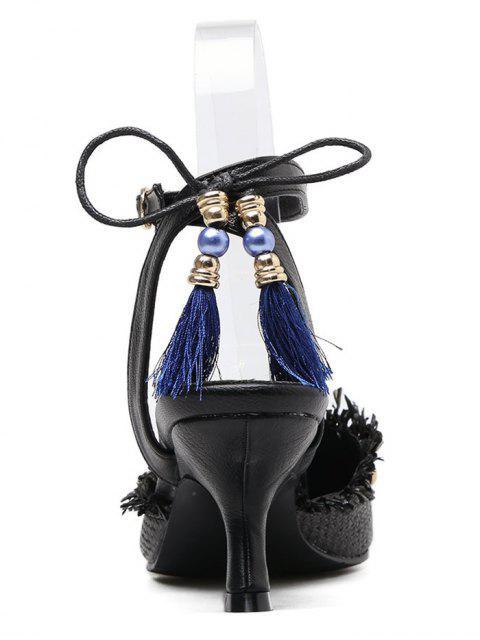 unique Anchor Pattern Tassels Kitten Heel Pumps - BLACK 37 Mobile