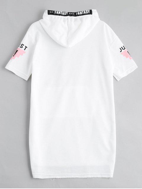 lady Letter Print Slit Drawstring Hooded Dress - WHITE L Mobile