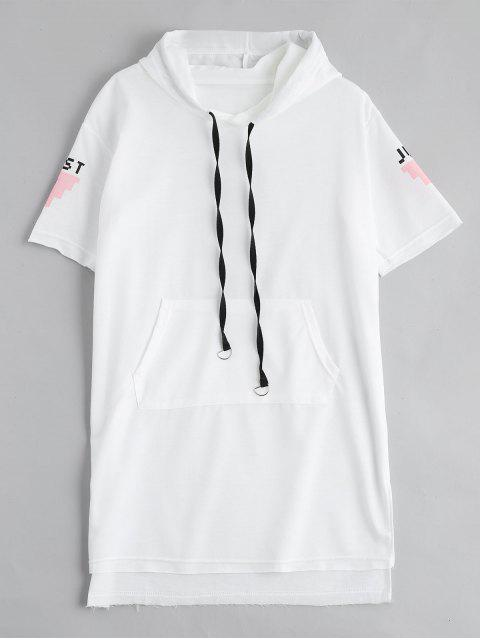 best Letter Print Slit Drawstring Hooded Dress - WHITE XL Mobile