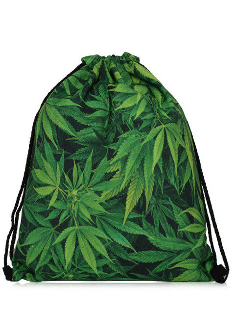 outfit Nylon Printed Drawstring Bag - GREEN  Mobile