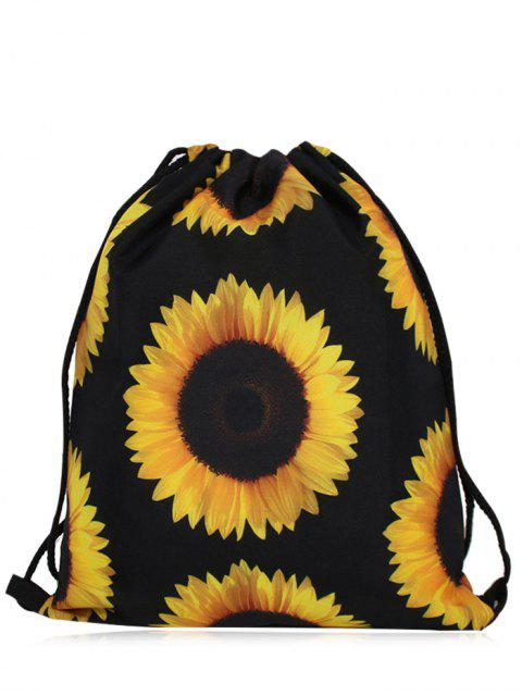 shop Nylon Printed Drawstring Bag - YELLOW AND BLACK  Mobile
