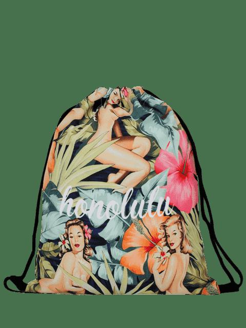 shops Nylon Printed Drawstring Bag - COLORMIX  Mobile