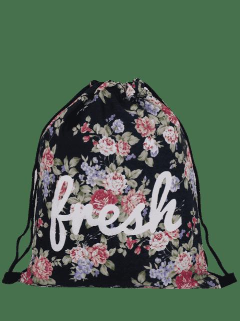 trendy Nylon Printed Drawstring Bag - BLACK  Mobile