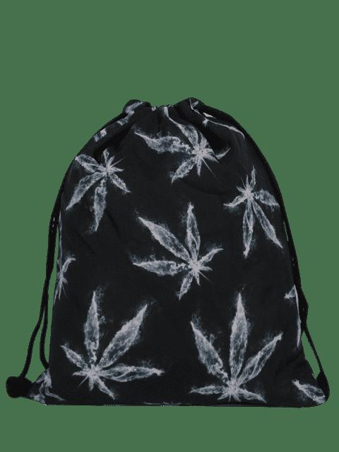 fashion Nylon Printed Drawstring Bag - BLACK GREY  Mobile