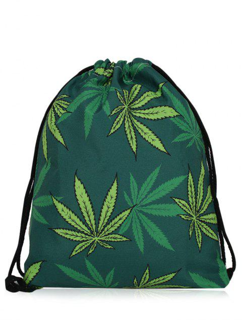 chic Nylon Printed Drawstring Bag - DEEP GREEN  Mobile