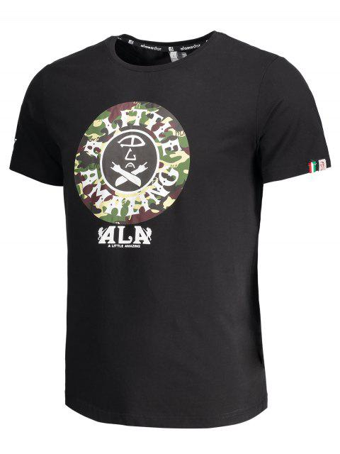 shops Short Sleeve Camouflage Graphic Print Tee - BLACK 3XL Mobile