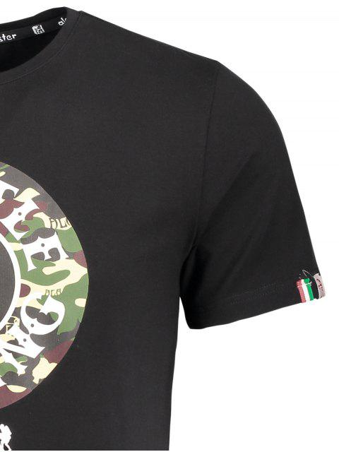 latest Short Sleeve Camouflage Graphic Print Tee - BLACK 2XL Mobile