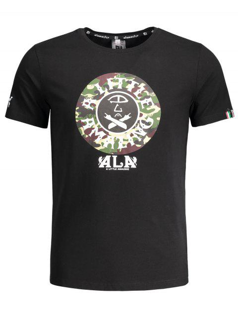T-shirt imprimé graphique à camouflage à manches courtes - Noir L Mobile