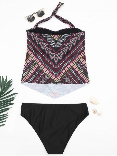 best Tribal Print Padded Bandeau Tankini Bathing Suit - MULTICOLOR 2XL Mobile