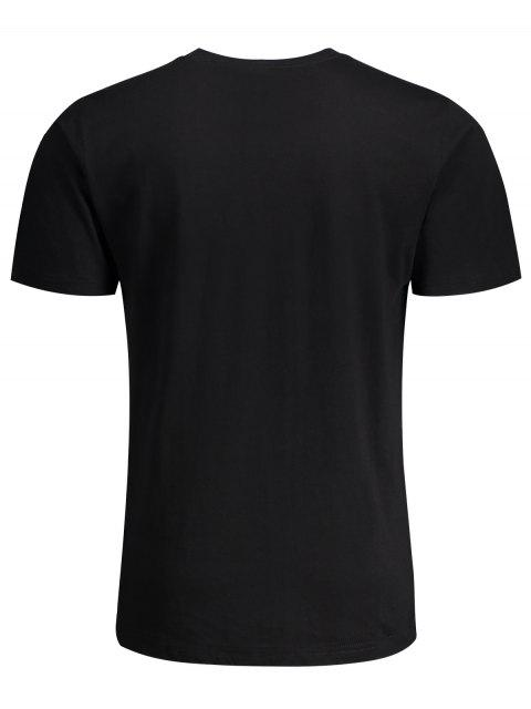 chic Short Sleeve Pocket Patch Letter Tee - BLACK 3XL Mobile
