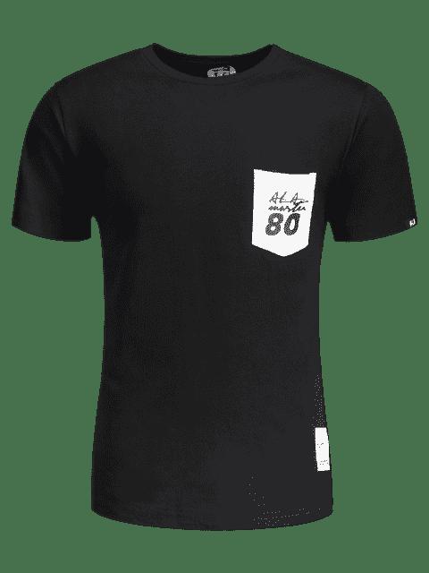 T-shirt à lettre de patch à poche à manches courtes - Noir XL Mobile