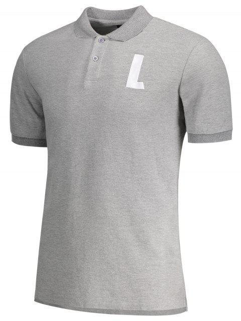women Shirt Neck L Pattern Short Sleeve Tee - GRAY M Mobile