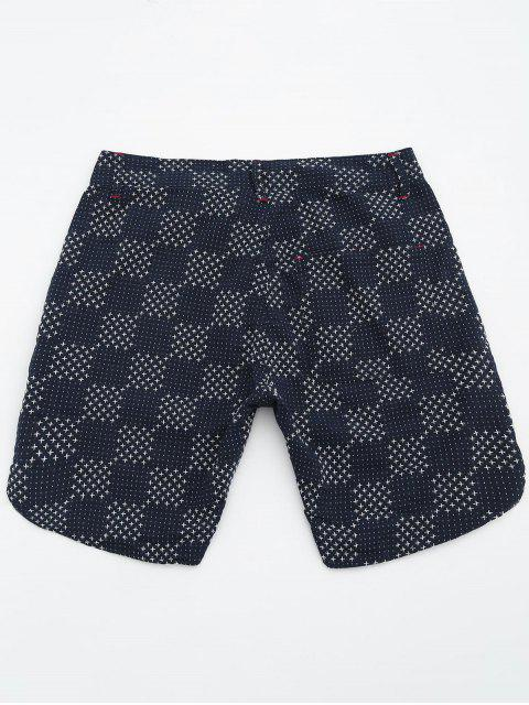 trendy Mens Embroidered Check Bermuda Shorts - DEEP BLUE 36 Mobile