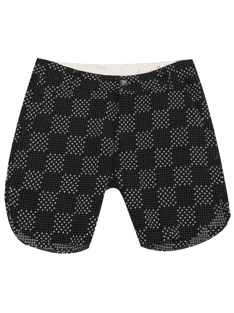 unique Mens Embroidered Check Bermuda Shorts - BLACK 36 Mobile