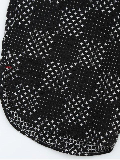 sale Mens Embroidered Check Bermuda Shorts - BLACK 34 Mobile