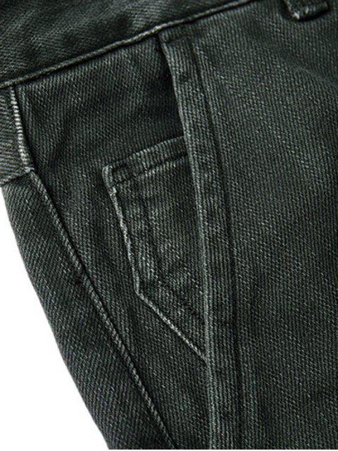 best Mens Slim Fit Tapered Ninth Jeans - DEEP GRAY 34 Mobile