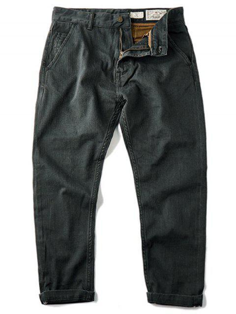 Hommes Slim Fit Tapered Ninth Jeans - Gris Foncé 32 Mobile