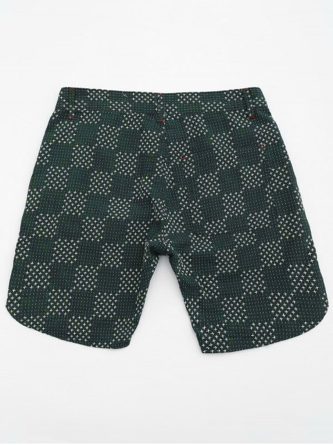 shops Mens Embroidered Cotton Bermuda Shorts - GREEN 36 Mobile