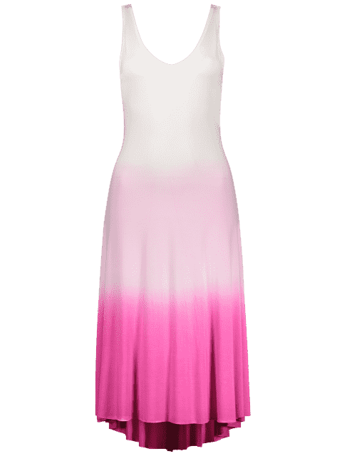 hot Pink Ombre Color Plunging Neck Sleeveless Sundress - PINK S Mobile