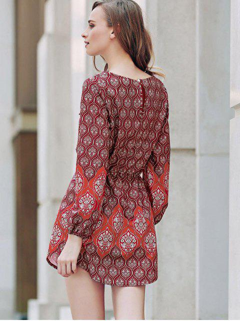womens Loose Digital Print Round Neck Long Sleeve Dress - RED S Mobile