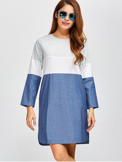 buy Color Block Denim Spliced Dress - DENIM BLUE 2XL Mobile