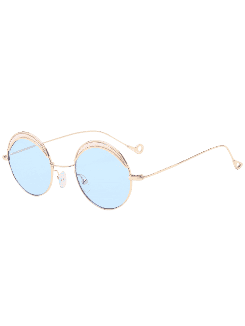 affordable Round Two-tone Splicing Hollow Out Leg Sunglasses - LIGHT BLUE  Mobile
