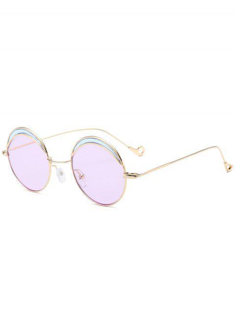 Ronda de dos tonos de empalme hueco hasta la pierna gafas de sol - Morado Claro  Mobile
