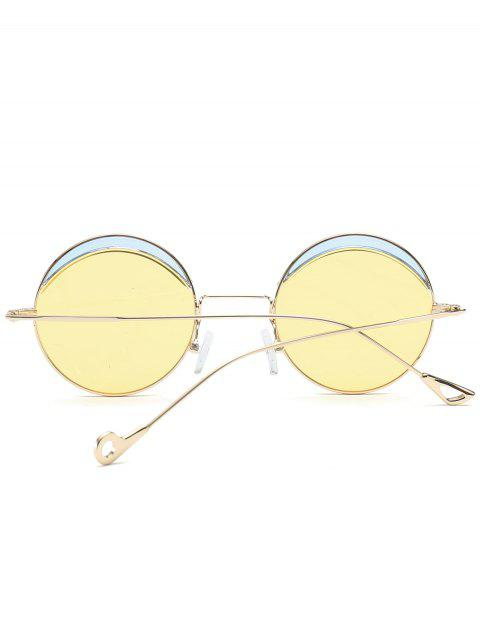 womens Round Two-tone Splicing Hollow Out Leg Sunglasses - LIGHT YELLOW  Mobile
