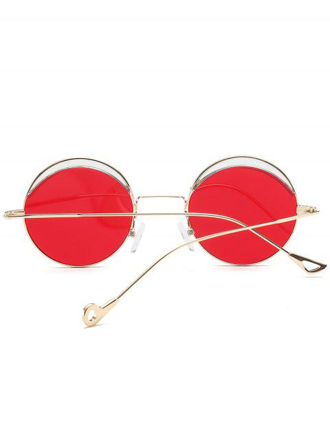 women Round Two-tone Splicing Hollow Out Leg Sunglasses - BRIGHT RED  Mobile