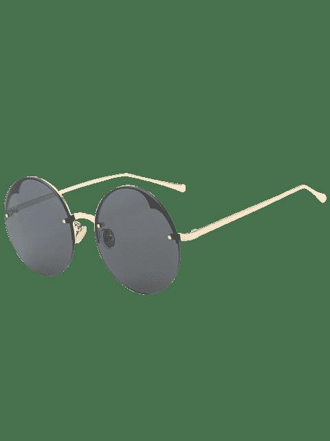 ladies Round Semi-rimless Sunglasses - BLACK  Mobile