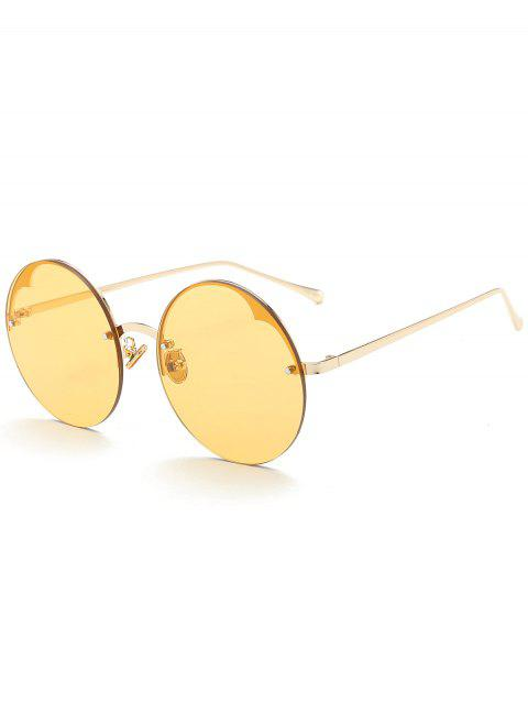 lady Round Semi-rimless Sunglasses - YELLOW  Mobile