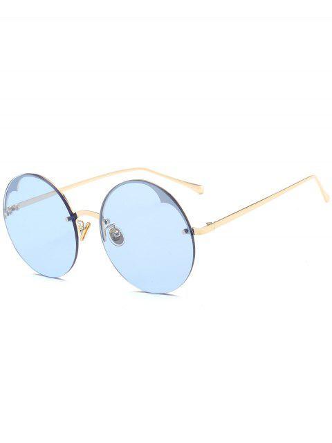 Runde halb-randlose Sonnenbrille - Helles Blau  Mobile