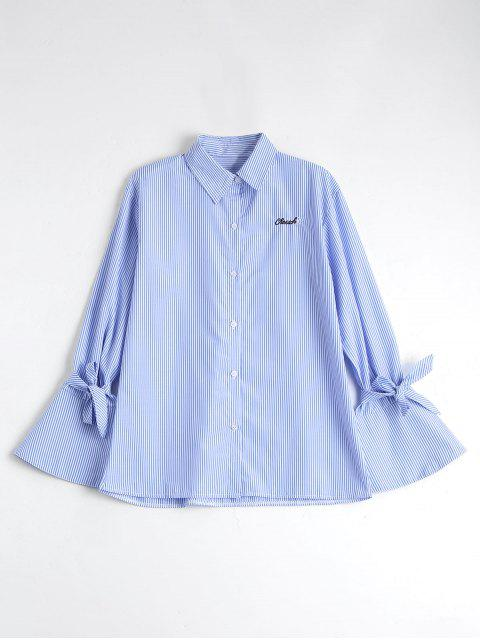 fashion Button Up Flare Sleeve Striped Shirt - BLUE STRIPE L Mobile