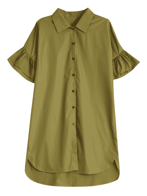 buy Button Up Tiered Flare Sleeve Dress - CELADON L Mobile