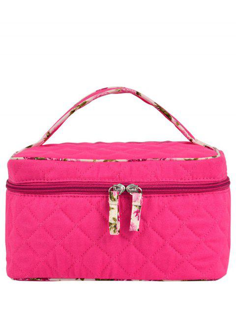 new Quilted Top Handle Cosmetic Bag - ROSE RED  Mobile
