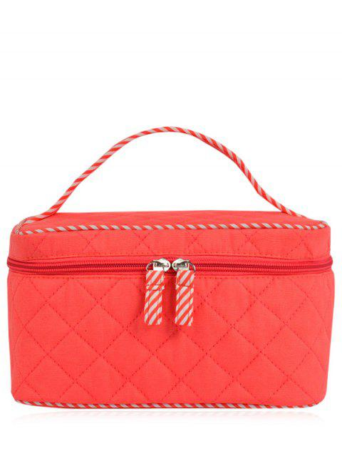 hot Quilted Top Handle Cosmetic Bag - WATERMELON RED  Mobile