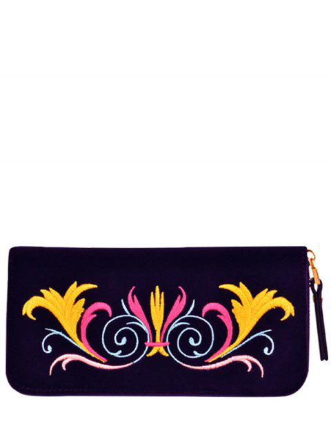 outfits Zip Around Embroidered Velvet Wallet - PURPLE  Mobile