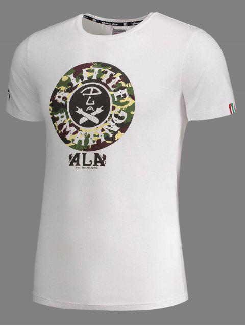 T-shirt imprimé à manches courtes à camouflage - Blanc 2XL Mobile