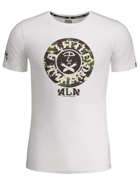 fashion Graphic Print Short Sleeve Camouflage Tee - WHITE L Mobile