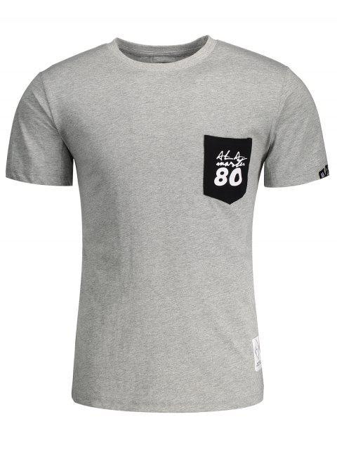 T-shirt Lettre à Poche Patché Manches Courtes - Gris XL Mobile