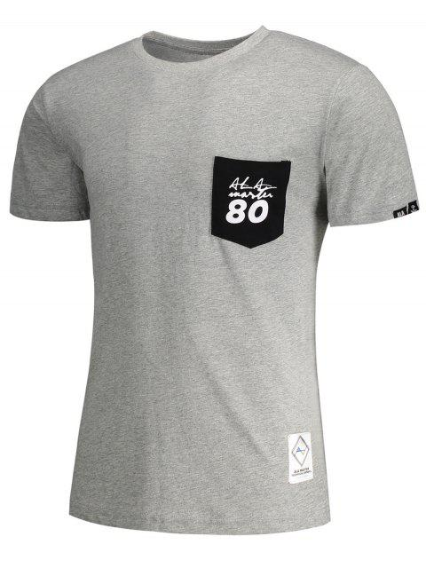 unique Short Sleeve Pocket Patch Letter T-shirt - GRAY XL Mobile