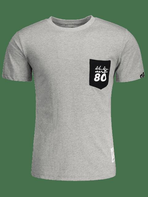 T-shirt à lettre de patch à poche à manches courtes - Gris L Mobile