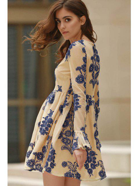 womens Long Sleeve Embroidered Mini Tulle Dress - BLUE S Mobile