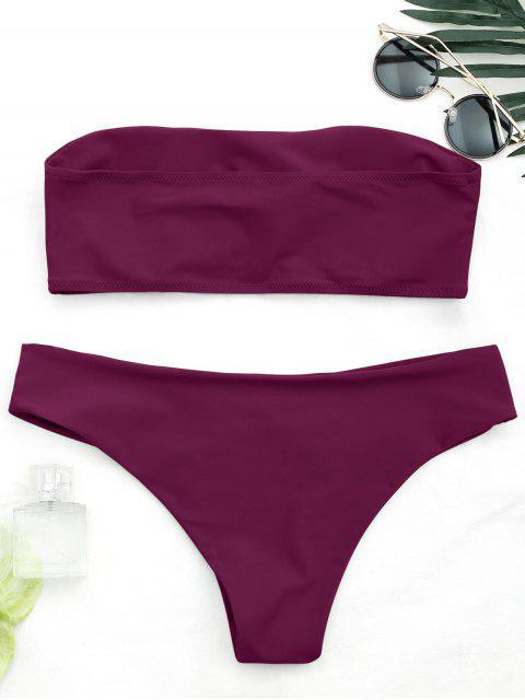 fancy Knot Padded Bandeau Bikini Set - BURGUNDY M Mobile